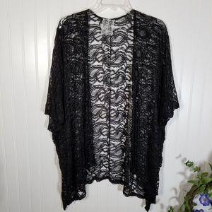 New Black Lace Kimono Cardigan Cover-Up One Size